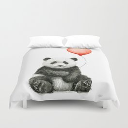 Baby Panda and Red Balloon Duvet Cover