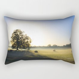 Sunrise in a Rural Hayfield Rectangular Pillow