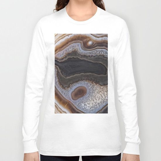 Chocolate colored Agate Crystals Long Sleeve T-shirt