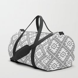 Aztec Symbol Pattern White on Gray Duffle Bag