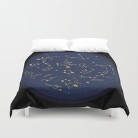 constellations Duvet Covers featuring Constellations by Cina Catteau