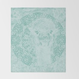 Happy Ghostly alpaca and mandala in Limpet Shell Blue Throw Blanket