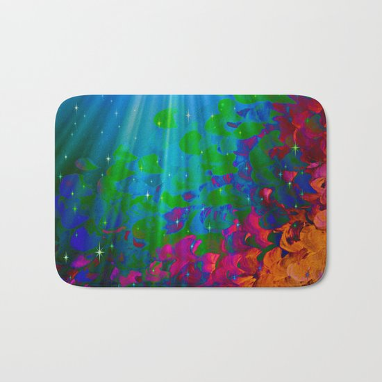 UNDER THE SEA Bold Colorful Abstract Acrylic Painting Mermaid Ocean Waves Splash Water Rainbow Ombre Bath Mat