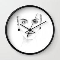 cara Wall Clocks featuring cara  by iphigenia myos
