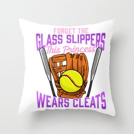 Forget Glass Slippers This Princess Wears Cleats Throw Pillow