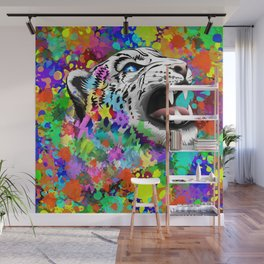 Leopard Psychedelic Paint Splats Wall Mural