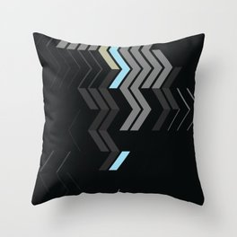 Deconstructed Chevron C – Gray / Gold / Blue Abstract Pattern Throw Pillow