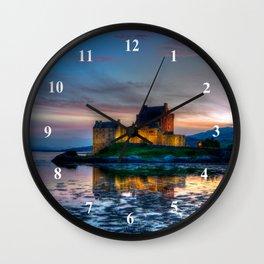 Sunset over Eilean Donan Castle, Scotland Wall Clock