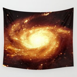 Golden Spiral Galaxy Wall Tapestry