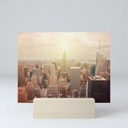 New York City skyline. Vintage skyscraper photo Mini Art Print