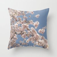 cherry blossoms Throw Pillows featuring  Cherry Blossoms  by cescabear