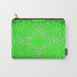 Green Color Burst Floral Carry-All Pouch
