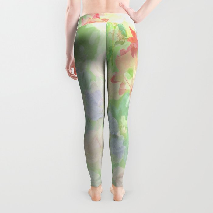 Mint Green Spring Floral Abstract Leggings