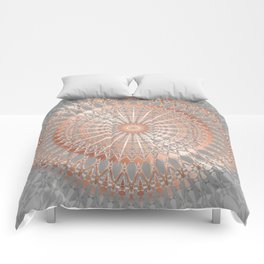 Rose Gold Gray Mandala Comforters