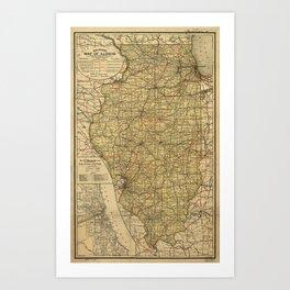 Vintage Illinois Railroad Map (1897) Art Print