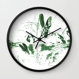 Rabbits in the woods - green Wall Clock
