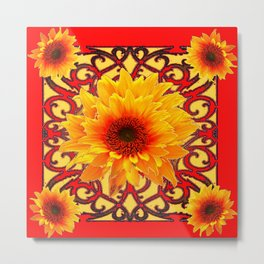 Red Colored Golden Sunflowers Yellow Pattern Metal Print