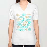 turquoise V-neck T-shirts featuring Inked Fish – Turquoise & Gold by Cat Coquillette