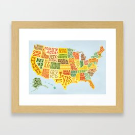 United States of America Map Framed Art Print