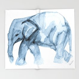 Elephant Sketch in Blue Throw Blanket