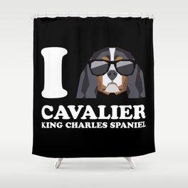 I Love Cavalier King Charles Spaniel modern v2 Shower Curtain