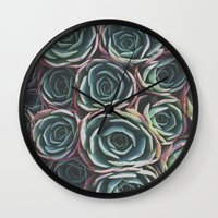 succulents Wall Clocks featuring SUCCULENTS by The Pixel Gypsy