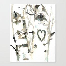 Winter Romance Birch Forest  Canvas Print