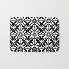 Moroccan Tile Pattern in Black and White Bath Mat