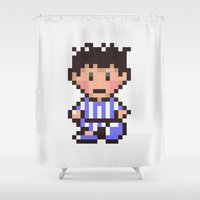 earthbound Shower Curtains featuring Ness (Pajamas) - Earthbound / Mother 2 by Studio Momo╰༼ ಠ益ಠ ༽