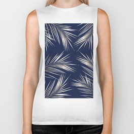 White Gold Palm Leaves on Navy Blue Biker Tank