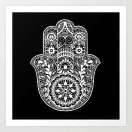 Black and White Hamsa Hand Art Print