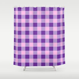 Purple and Pink Check Shower Curtain