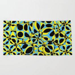 yellow blue circle pattern Beach Towel