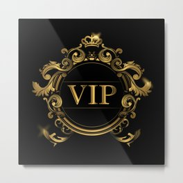 VIP In Black and Goldtone Metal Print