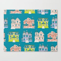 Victorian Homes Pattern Canvas Print