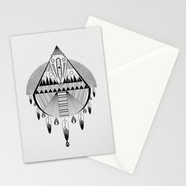 Geometrical black and white dreamcatcher Stationery Cards