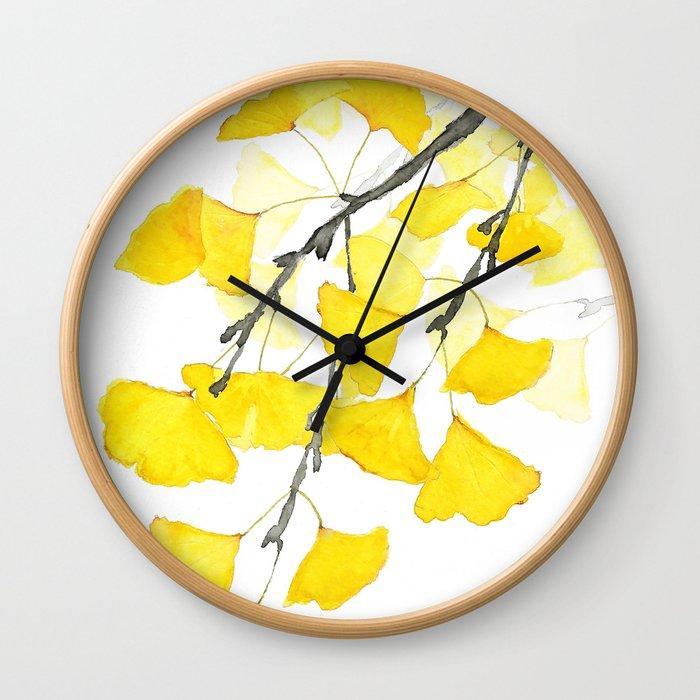 Golden Ginkgo Leaves Wall Clock