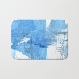 Corn flower blue hand-drawn wash drawing paper Bath Mat