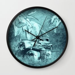 cars and butterflies in moonlight Wall Clock