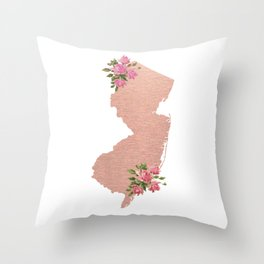 Baesic Rose Gold New Jersey Throw Pillow