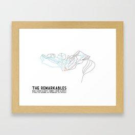 The Remarkables, Queenstown, NZ - Minimalist Winter Trail Art Framed Art Print