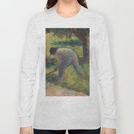 Peasant with a Hoe Oil Painting by Georges Seurat Long Sleeve T-shirt