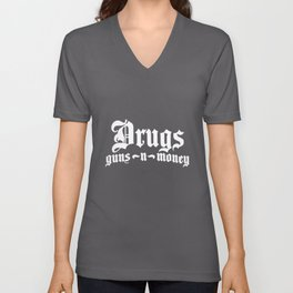 Bone Thugs Harmony Drugs Guns Money Hip Hop NWA Biggie Smalls patriotic Unisex V-Neck
