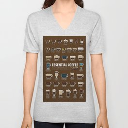 Coffee Types Cup Poster Chart Flavor Guide Unisex V-Neck