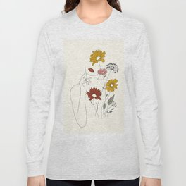 Colorful Thoughts Minimal Line Art Woman with Flowers III Long Sleeve T-shirt