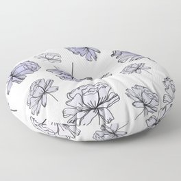 Hand Drawn Peonies Lilac Floor Pillow