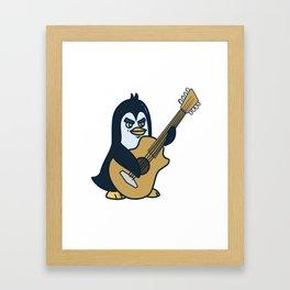 Guitar penguin Framed Art Print
