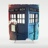 police Shower Curtains featuring The Police Box by KiloWhat