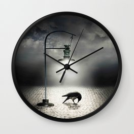 crow lonely in the street Wall Clock