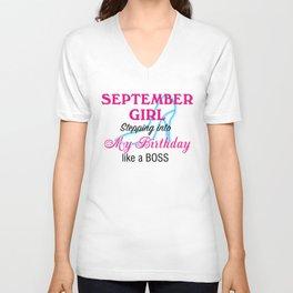 September Girl Birthday Unisex V-Neck